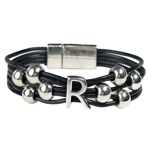 Black Leather Bracelet Silver Initial R