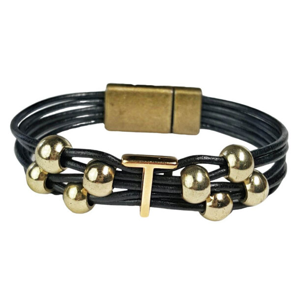 Black Leather Bracelet Gold Initial T