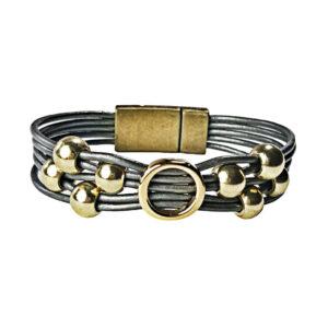 Grey Leather Bracelet Initial O gold
