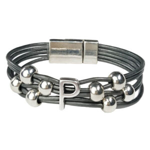 Grey Leather Bracelet Initial P silver