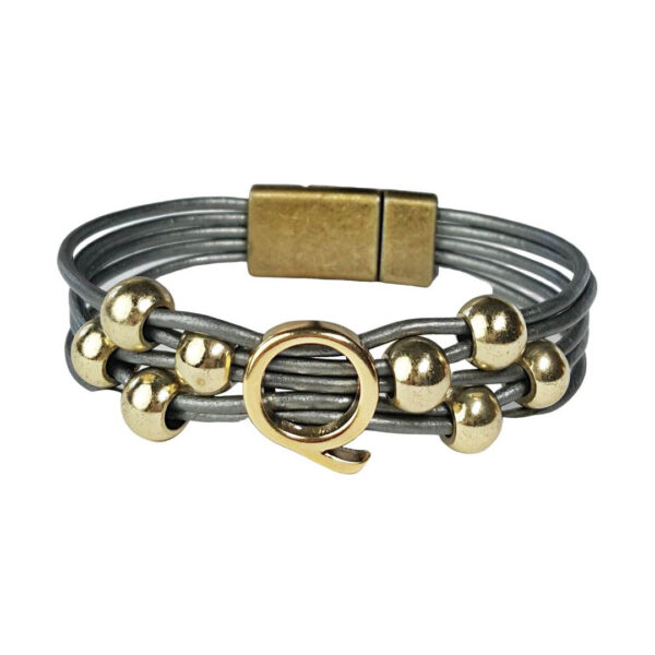 Grey Leather Bracelet Gold Initial Q