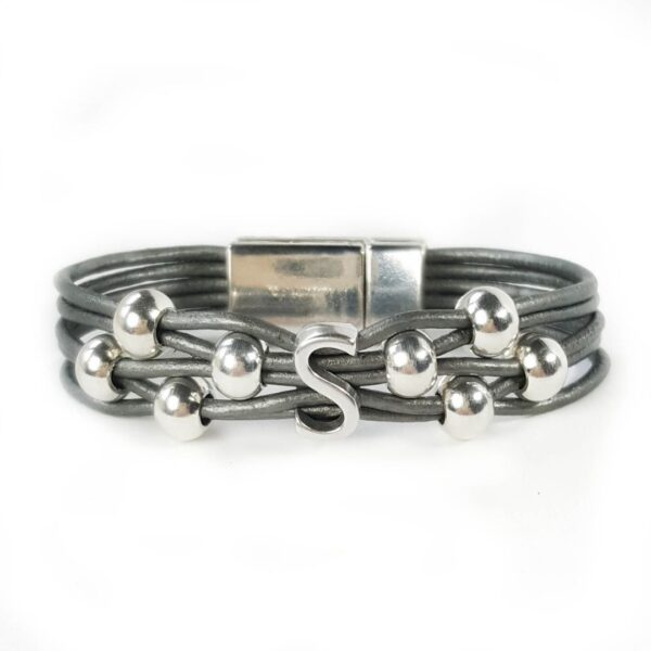 Grey Leather Bracelet Silver Initial S
