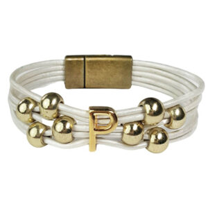 White Leather Bracelet Gold Initial P