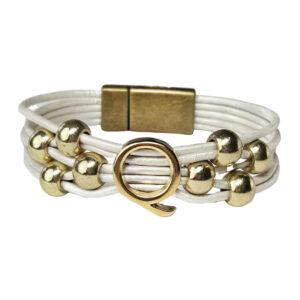White Leather Bracelet Gold Initial Q