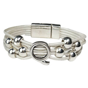 White Leather Bracelet Silver Initial Q