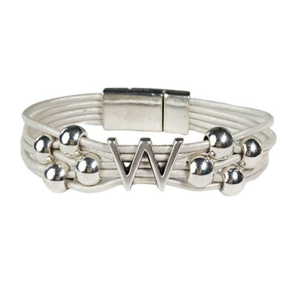 White Leather Bracelet Silver Initial W