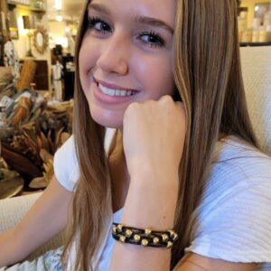 Black Leather Bracelet on model
