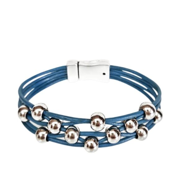 Dark Blue Leather Bracelet with silver beads