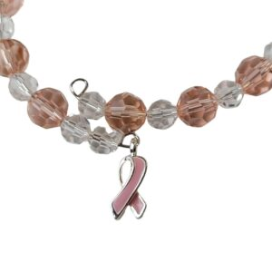 Breast cancer bracelet close up showing Austrian crystals and silver enamel pink ribbon charm