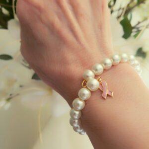 Pearl Bracelet close up on wrist