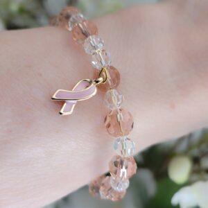 Pink Cancer Bracelet close up on wrist