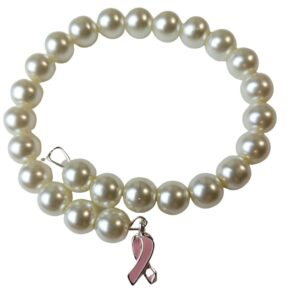Pearl Cancer Bracelet with Ribbon Charm