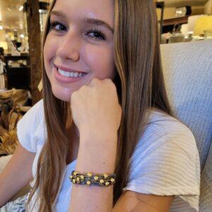 Leather Bracelet Gold Beads on model